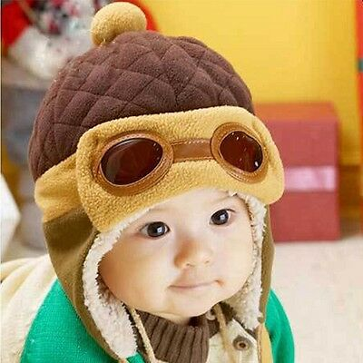 Baby Infant Warm Winter Fleece Hat Pilot Aviator style with earflaps brown