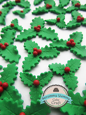 Triple Holly Leaves Christmas topper edible sugar decorations cake READY TO POST