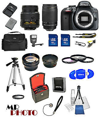 Nikon D3300 Black DSLR Camera w/ 18-55mm VR + 70-300mm + 32GB  Value Bundle