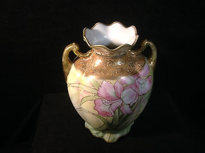 Authentic Nippon Vase with Raised Etching & Handles