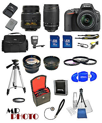 Nikon D5500 Black DSLR Camera w/ VR 18-55mm +  70-300G + 32GB VALUE BUNDLE