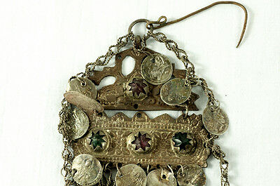 Antique Ottoman Coins Bulgarian Silver Folk Pin Head Hook Brooch Balkan Greek