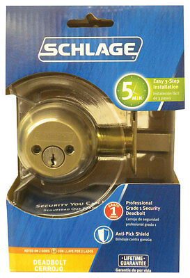Schlage Deadbolt Double Cylinder Satin Nickel Finish Ansi Gr 1