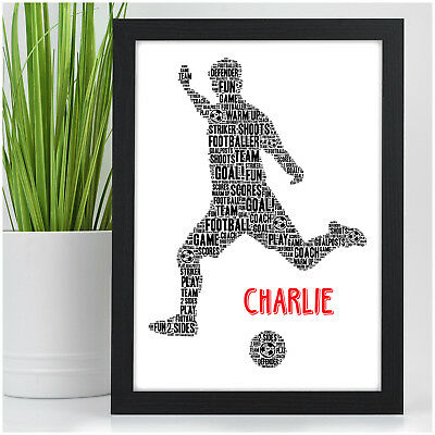 PERSONALISED Christmas Gifts for Boys - Footballer Football Word Art Present