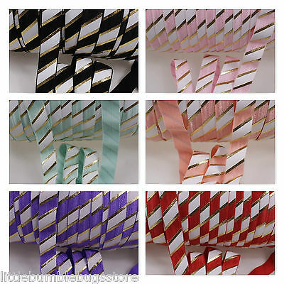 Foe 5/8 Fold Over Elastic By The Metre - Big Gold Foil & Oil Stripes