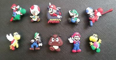 10 x Super Mario and Luigi Croc Shoe Charms Crocs Jibbitz Wristbands