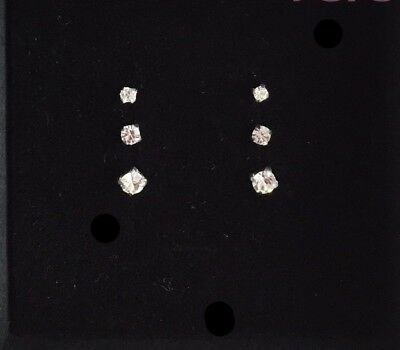 TINY CUTE 3 pairs of 925 SILVER STUDS CLEAR CRYSTAL CZ STONE SET 1.5, 2 & 2.5mm
