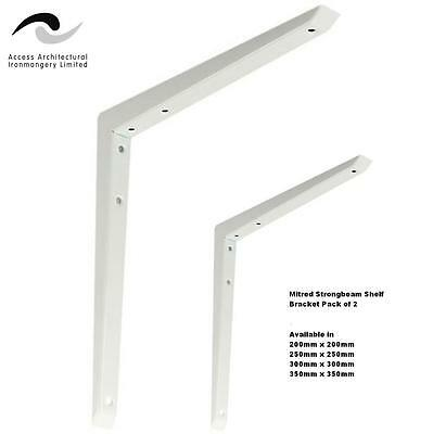 Heavy Duty Mitred Shelf Brackets (Pair) White Support Hi Load Metal Strong Beam