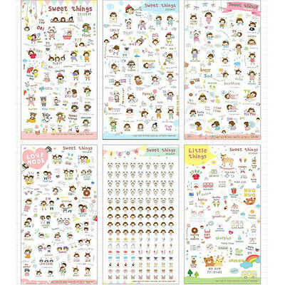 6 Sheets/lot Sweet Things PVC Diary Sticker Set DIY Stickers Kawaii Decoration J