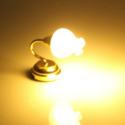 DOLLS HOUSE MINIATURE Metal TULIP SCONCE LED LIGHT Wall Lamp w/ BATTERY 12th
