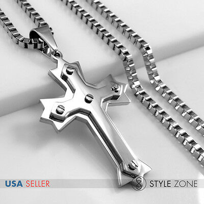 Men Stainless Steel Slotted screws Cross Pendant w// Box Chain Necklace Silver 3B