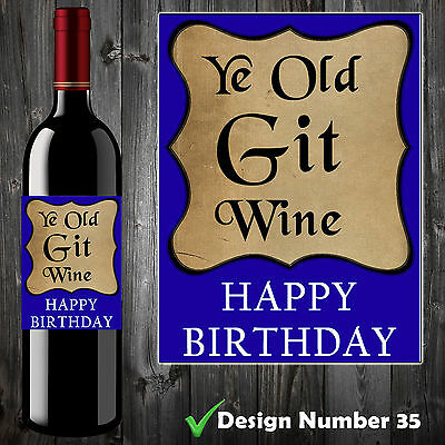 OLD GIT MENS 30th, 40th, 50th, 60th, 70th FUNNY BIRTHDAY WINE BOTTLE LABEL GIFT
