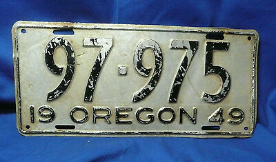 1949 Ore Oregon Car License Plate  Original97-975