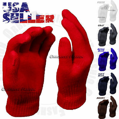 Men Women Knit Winter Warmer Knitted Casual Gloves Solid Stretch One Size Unisex