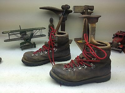 Vintage Tecnica  Brown Leather Lace Up Mountaineering Hiking Boots 7.5.m