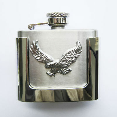 2 oz. Flask Flying Eagle Western Metal Removable Belt Buckle Alcohol Drink