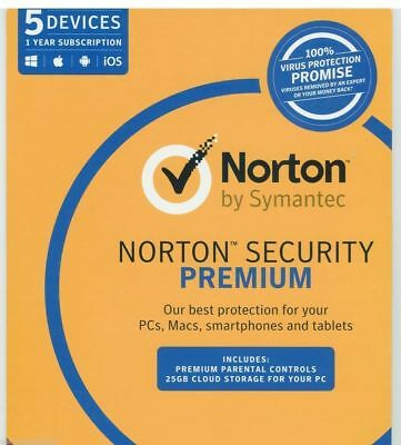Norton Security PREMIUM 2018 5 Devices PC AntiVirus Windows Mac Android iOS CD