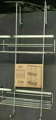 New Over Shower Screen Caddy Bathroom Door Rack Chrome Steel 2 Tier Shelf New