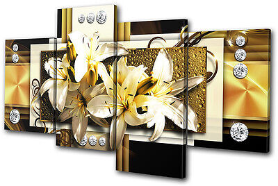 Abstract Modern Gold Floral MULTI CANVAS WALL ART Picture Print VA