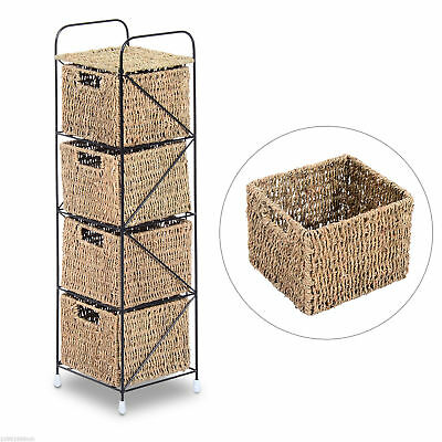 HOMCOM Standing Storage Shelves Unit with 4 Seagrass Drawers Baskets New