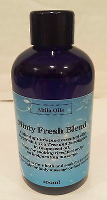 Minty Fresh Massage Bath Oil Aroma Blend 100ml Peppermint Tea Tree Eucalyptus