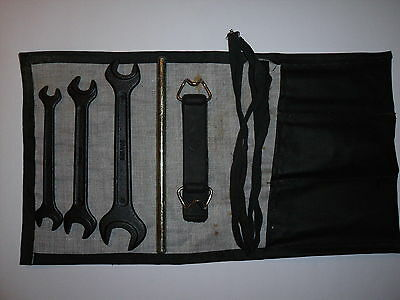 Original Skoda part tool kit in pouch / roll. 3 x spanners Strap Tommy bar     P