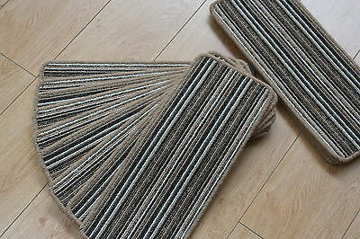 14 Stripey Open Plan Carpet Stair Treads Fancy Stripe Brown Pads! 14 Large Pads!