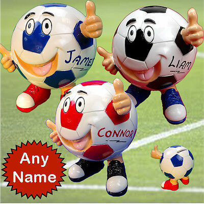 Football Money box with hands & feet PERSONALISED  any name number or initials