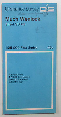 1966 old vintage OS Ordnance Survey 1:25000 First Series Map SO 69 Much Wenlock