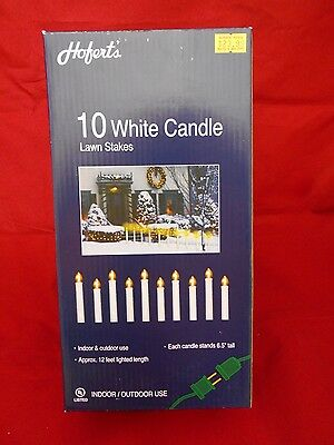 10 White Candle Lights with Lawn Stakes