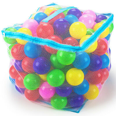 """200 Large Sized 3"""" Multi-Colored Soft Ball Bounce House Pit Balls with Mesh Case"""