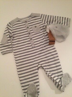 3d277789f26 Uptown Boutique Baby Boy Coverall Hat Outfit Set Size 6 9 Months Navy Blue  Grey