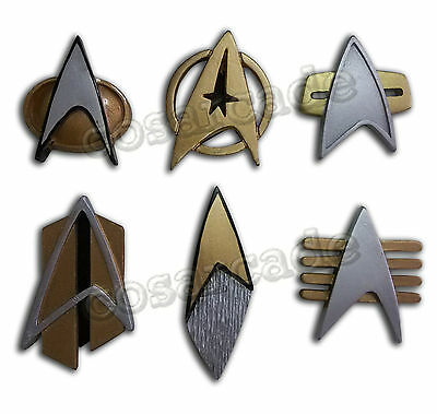 Star Trek COSplay Starfleet Captain Badge Combadge Rank Pip Pin Insignia Brooch