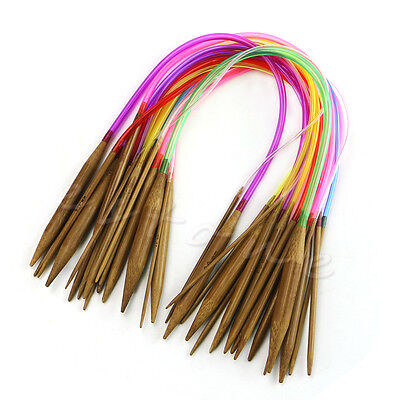 "18Pcs 16"" 40cm Multicolor Tube Circular Carbonized Bamboo Knitting Needles New"