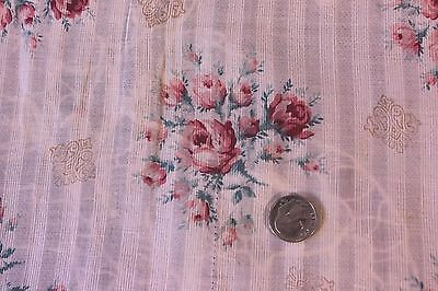 "French Antique Pink Rose Fine Linen Batiste/Lawn Fabric~15""LX25""W~Dolls,Design"