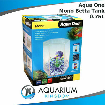 Aqua One Mono Betta Tank - Fighting Fish Hexagonal Aquarium Start Up Kit Unit