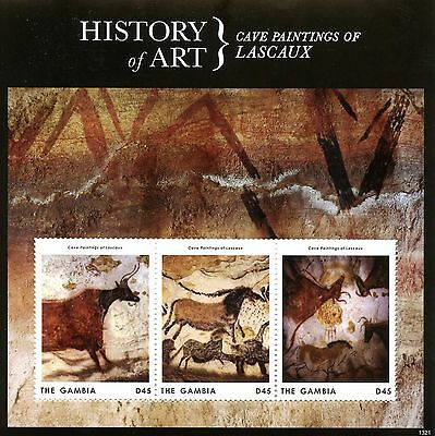 Gambia 2013 MNH History of Art Cave Paintings of Lascaux 3v M/S Stamps