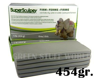 Super Sculpey FIRM Grey 1 Pound (454gr.) OOAK Sculpting Polymer Oven Bake Clay