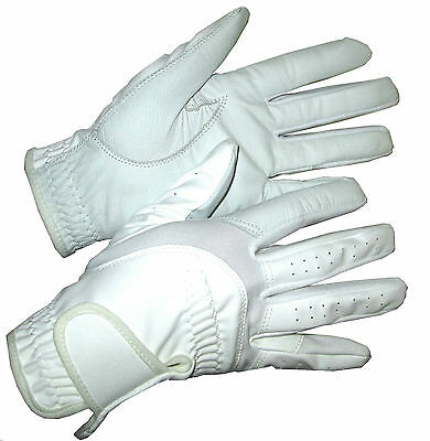Ladies Bright White Leather Palm Competition Dressage Gloves Horse Riding