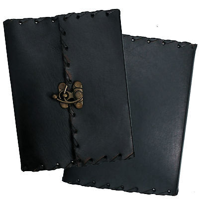 "6"" Handmade Black Leather Diary Journal Sketchbook Notebook with Handmade Paper"