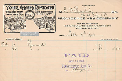 PROVIDENCE ASH REMOVAL COMPANY - FOR DR. GEORGE W. BENEDICT of BROWN UNIV. c1903