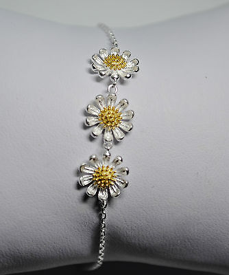 """Sterling Silver 925 Triple Daisy with Gold Plated Centre 7-8"""" Bracelet"""