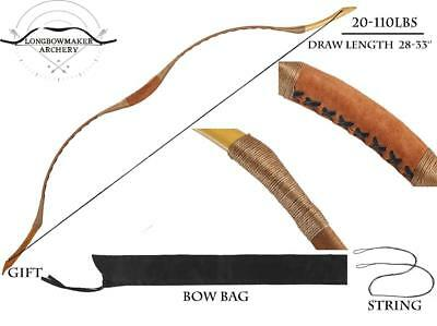 Brown Pigskin Hungarian Style Hunting Longbow Archery Recurve Bow 15-110lb