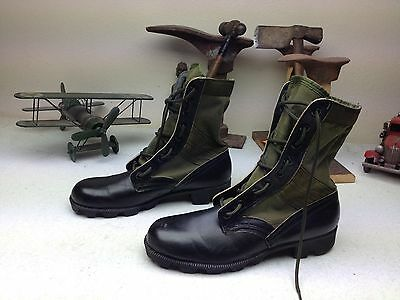 Military Engineer Black Leather Green Canvas Engineer Jungle Military Boots 8 N