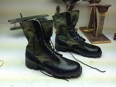 Military Engineer Black Leather Green Canvas Engineer Jungle Military Boots 6 R
