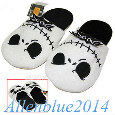 Hot!The Nightmare Before Christmas Jack Skellington Soft Warm Plush Slippers New