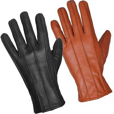 Mens Leather Gloves Soft Feel Fully Linned Winter Warm Outdoor Walking