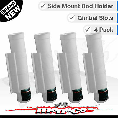 4 SIDE MOUNT Fishing Boat Rod Holders - Straight White / Gimble Pin