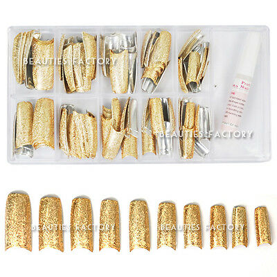 New BF Shining 3D Rugged Diamond Effect Pre-designed French False Nail Tips