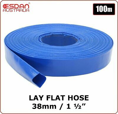 "PVC Lay flat water pump irrigation discharge hose 1 1/2"" 38mm x 100m Blue ESDAN"